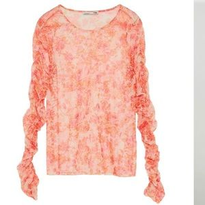 Zara - in Apricot Colors, Tulle T-Shirt